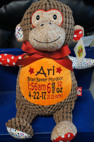 """Baby Cubbies"" Harlequin Monkey, a personalized plush stuffed animal keepsake/baby gift - Celebrate! With Thread"
