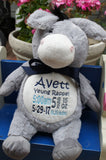 Personalized Donkey by Little Elska®, Keepsake, embroidery included, Newborn, Baptism or Baby gift
