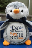 Personalized Penguin by Little Elska®, Keepsake, embroidery included, Newborn, Baptism or Baby gift