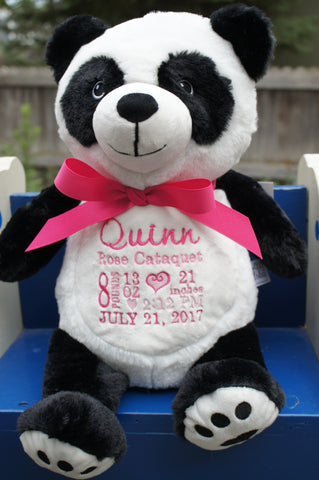 Personalized Panda by Little Elska®, Keepsake, embroidery included, Newborn, Baptism or Baby gift