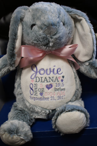 Personalized Bunny by Little Elska®, Keepsake, embroidery included, Newborn, Baptism or Baby gift