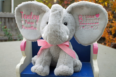 Personalized Elephant By Little Elska Keepsake Embroidery Included Newborn Baptism Or Baby Gift