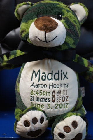 Personalized CamoBear by Little Elska®, Keepsake, embroidery included, Newborn, Baptism or Baby gift