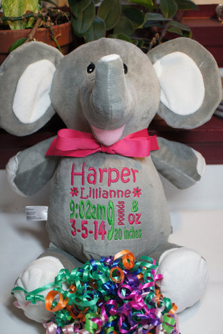 """Baby Cubbies"" ""Elle"" the elephant, a personalized plush stuffed animal keepsake/baby gift"