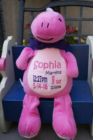 """Baby Cubbies"" ""Sir Monty"" the dinosaur, a personalized plush stuffed animal keepsake/baby gift - Celebrate! With Thread"