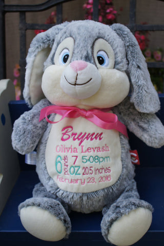 """Baby Cubbies"" ""Munchkin Pie"" the rabbit, a personalized plush stuffed animal keepsake/baby gift - Celebrate! With Thread"