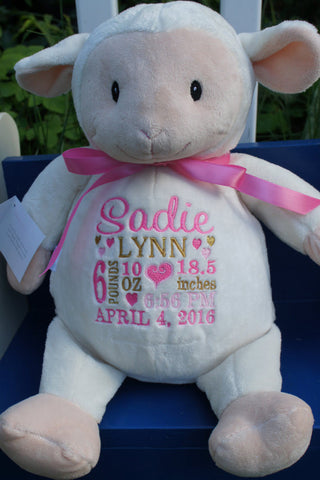 """Baby Cubbies"" ""Loverbee"" lamb, a personalized plush stuffed animal keepsake/baby gift - Celebrate! With Thread"