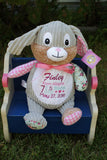 """Baby Cubbies"" Harlequin Bunny, a personalized plush stuffed animal keepsake/baby gift - Celebrate! With Thread"