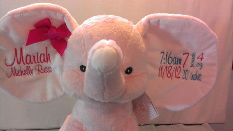 """Baby Cubbies"" ""Dumble"" elephant, a personalized plush stuffed animal keepsake/baby gift"