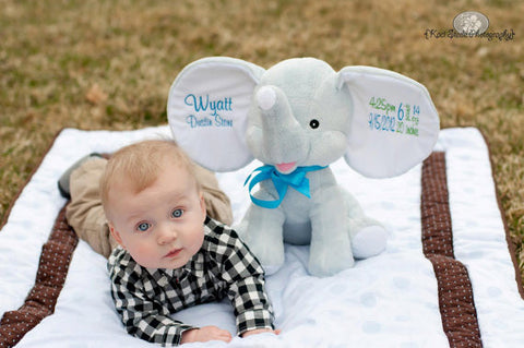 """Baby Cubbies"" ""Dumble elephant"", a personalized plush stuffed animal keepsake/baby gift"