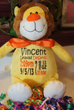"""Baby Cubbies"" ""Sundrop"" the lion, a personalized plush stuffed animal keepsake/baby gift - Celebrate! With Thread"