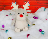 "Limited edition ""Christmas Cubbies"", Taupe Reindeer a personalized plush stuffed animal keepsake"