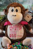 """Baby Cubbies"" ""Huggles"" the monkey, a personalized plush stuffed animal keepsake/baby gift - Celebrate! With Thread"