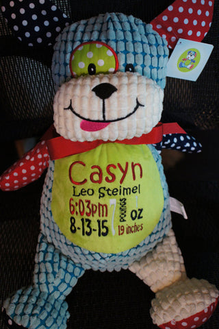 """Baby Cubbies"" Harlequin puppy, a personalized plush stuffed animal keepsake/baby gift - Celebrate! With Thread"