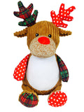 "Limited edition ""Christmas Cubbies"", Harlequin Reindeer a personalized plush stuffed animal keepsake"