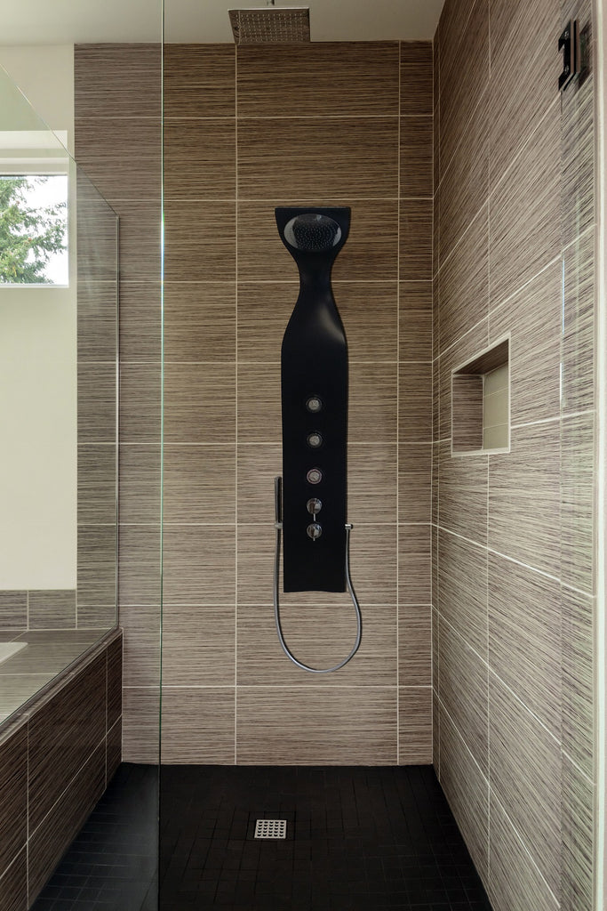 Aquatica Elise Wall-Mounted Solid Surface Shower Panel in Black ...