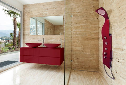 Aquatica Elise Wall-Mounted Solid Surface Shower Panel in Red Matte ...