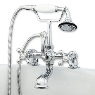 Cambridge Clawfoot Tub Deck Mount Brass Faucet With Hand Held