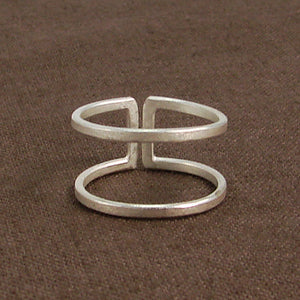 Sterling Silver Plated Parallel Bar Ring