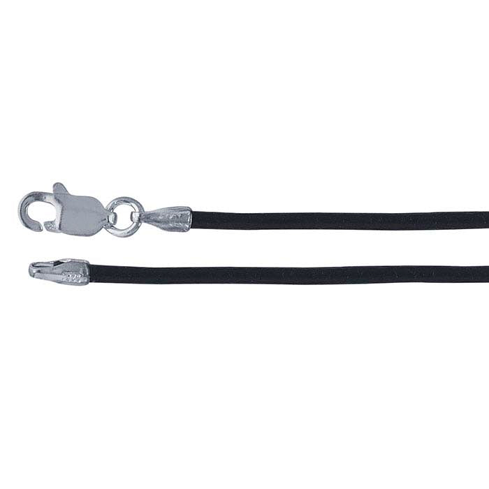 Black Leather 1.5mm Cord Necklace with Rhodium-Plated Sterling Silver Clasp