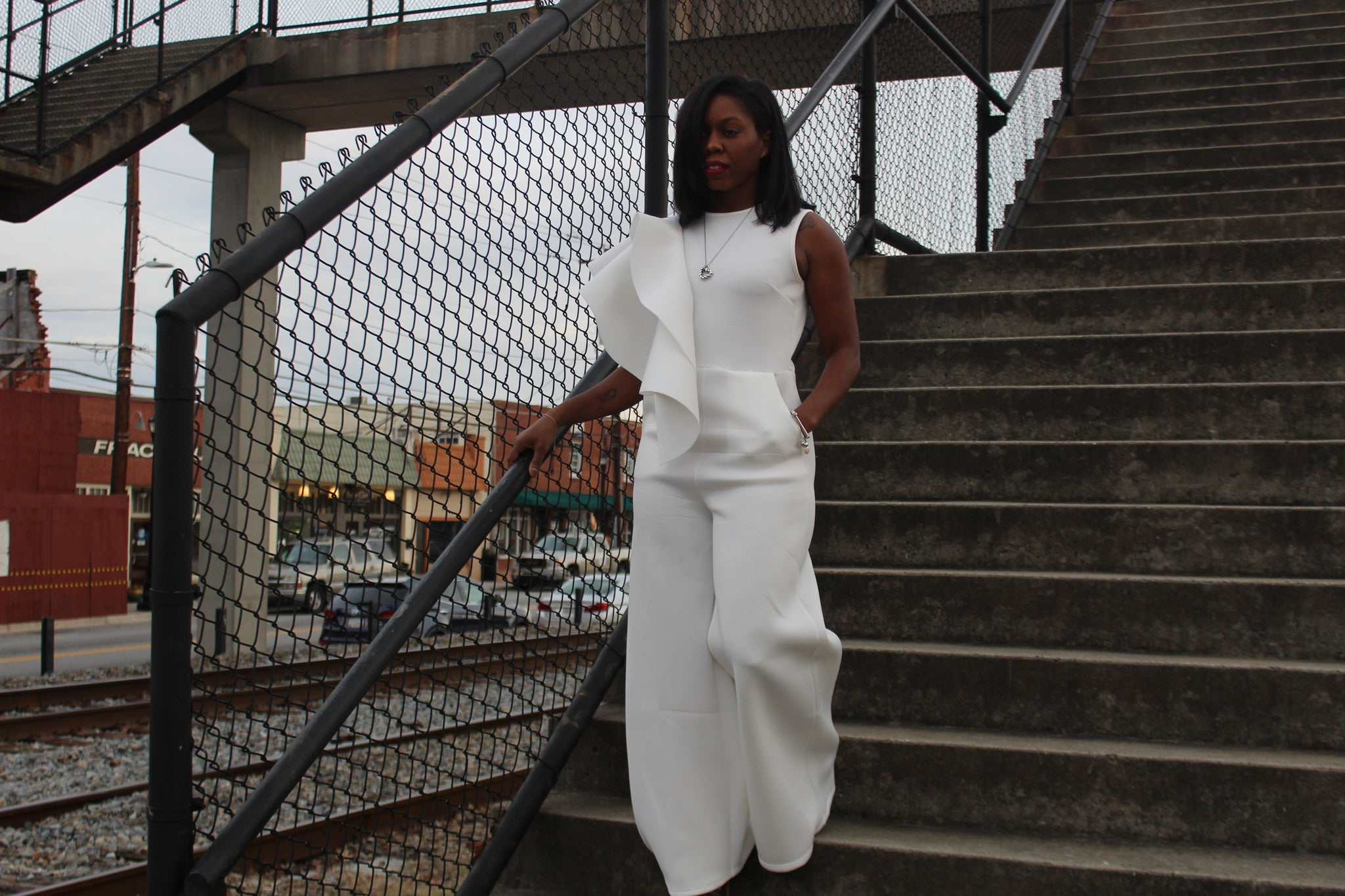 """Angel Wings"" White Wide-Leg Jumpsuit"