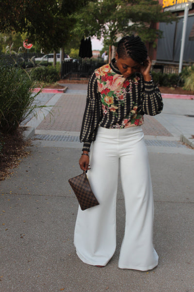 """Flatter Me"" Off-White Wide-Leg Flare Pants"