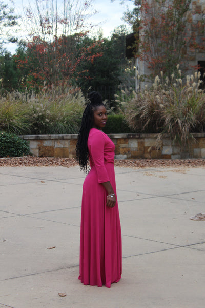 """Raspberry Beret"" Wrap Maxi Dress"