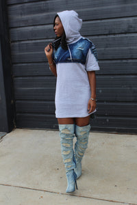 """Acid"" Gray & Denim Hoodie/Dress"
