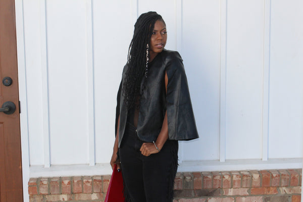 """Blazed"" Vegan Leather Blazer Cape"