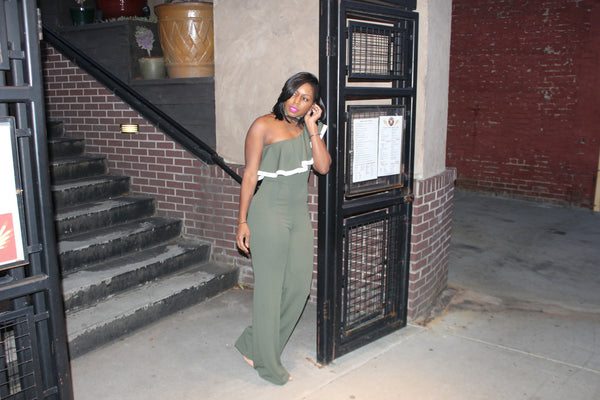 """One-Sided"" Olive Jumpsuit"