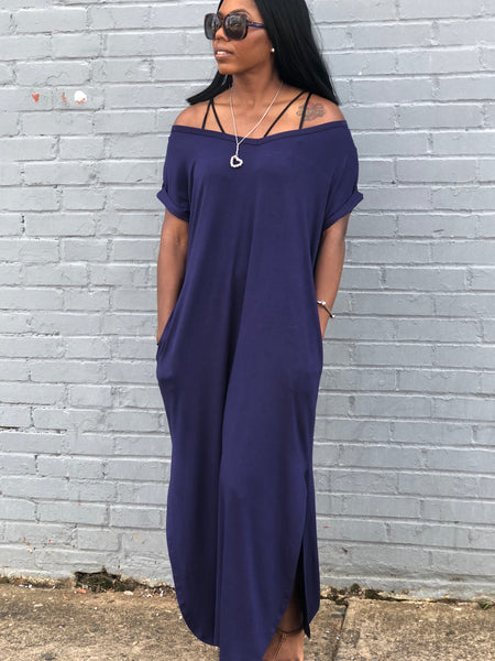 """Never Basic-Navy Blue"" T-Shirt Dress"