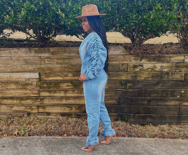 """Blu Fairy"" Blue Denim Ruffle Jumpsuit"