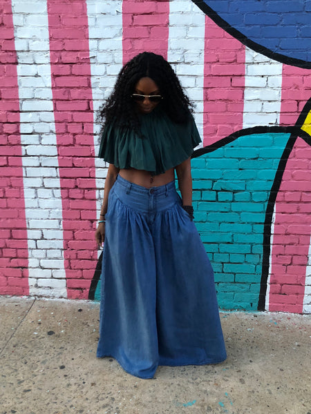 """BoHo Blues"" Flare-Leg Denim Palazzo Pants"