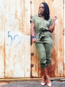 """Ranger Bae-Army Green"" Jumpsuit"