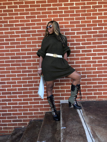 """So Extra-Olive"" Donut Sleeve Sweater Dress"