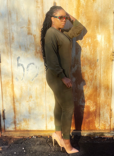 """Bedtime Stories-Olive Green"" One-Piece Jumper"