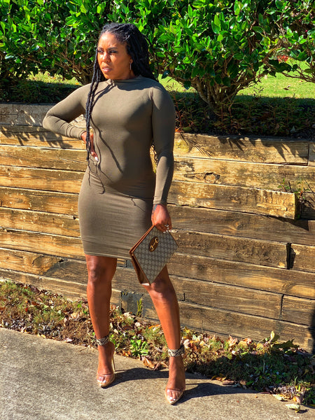 """Grown & Sexy-Olive"" Fitted Dress"