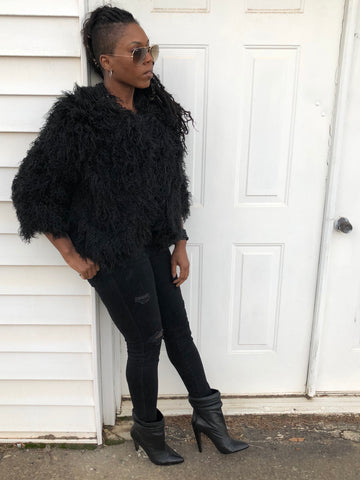"""Black Wynter"" Shaggy Faux Fur Coat"