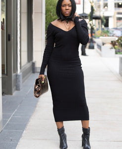 """Love Notes-Black"" Deep V-Neck Sweater Dress"