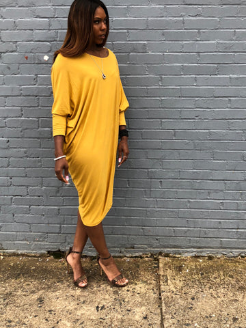 """Yellow Rose"" Asymmetric Maxi Midi Dress"