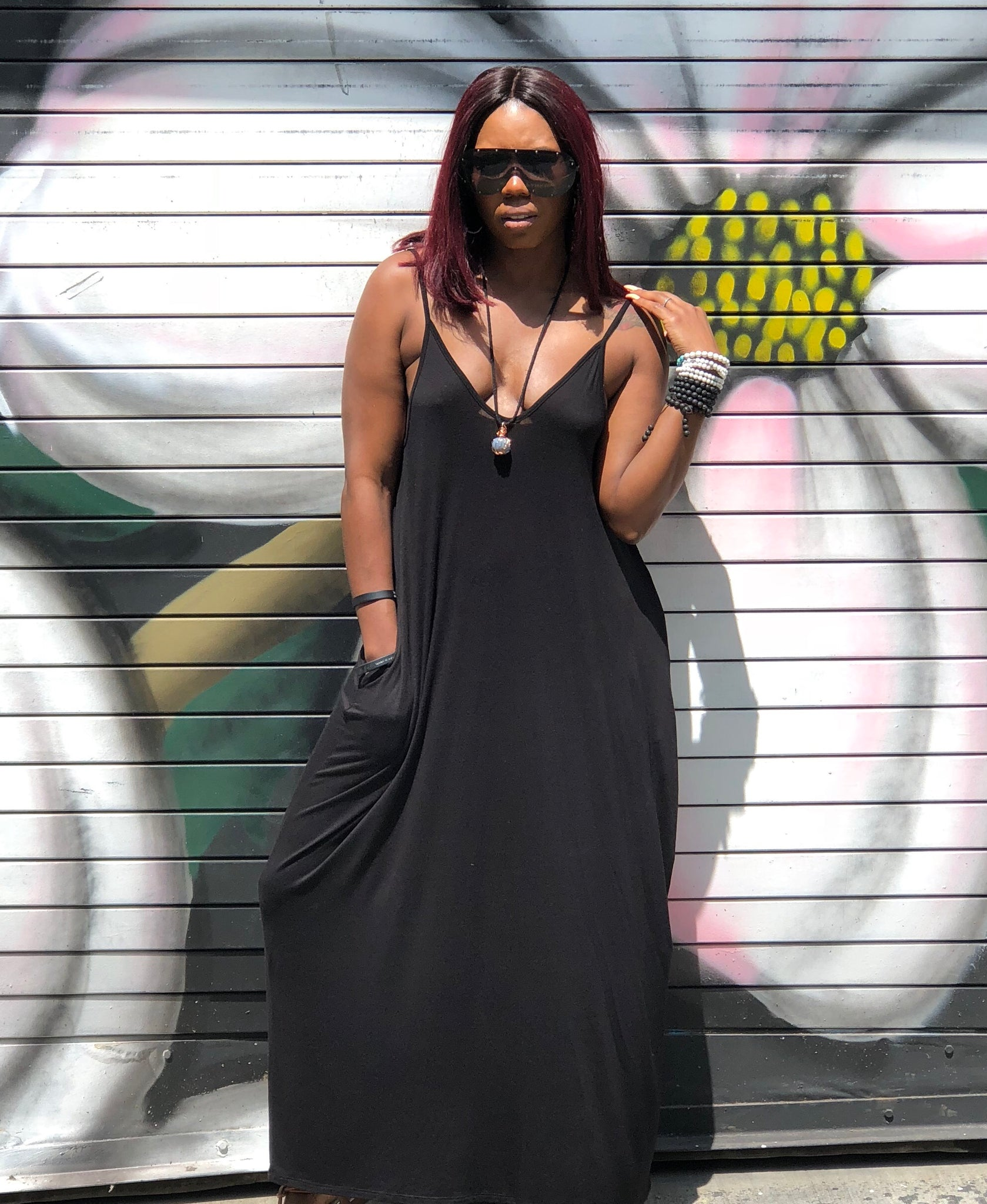 """Onyx"" Spaghetti Strap Maxi Dress"