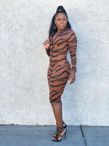 """Eye of the Tiger"" Fitted Dress"