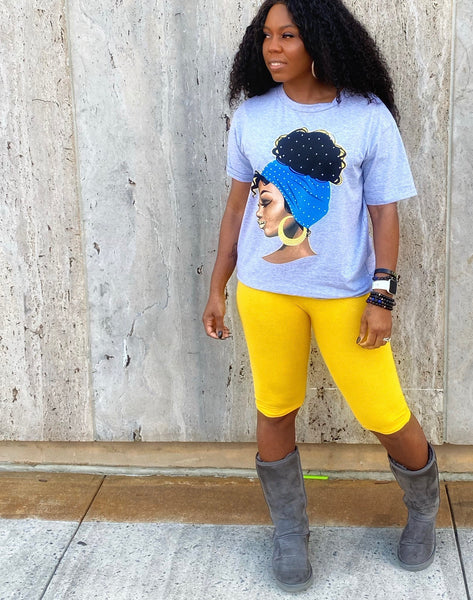 """Round Da Way Girl"" Grey Studded T-shirt"