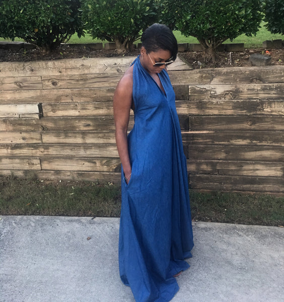 """Giving Them the Blues"" Denim Maxi Dress"