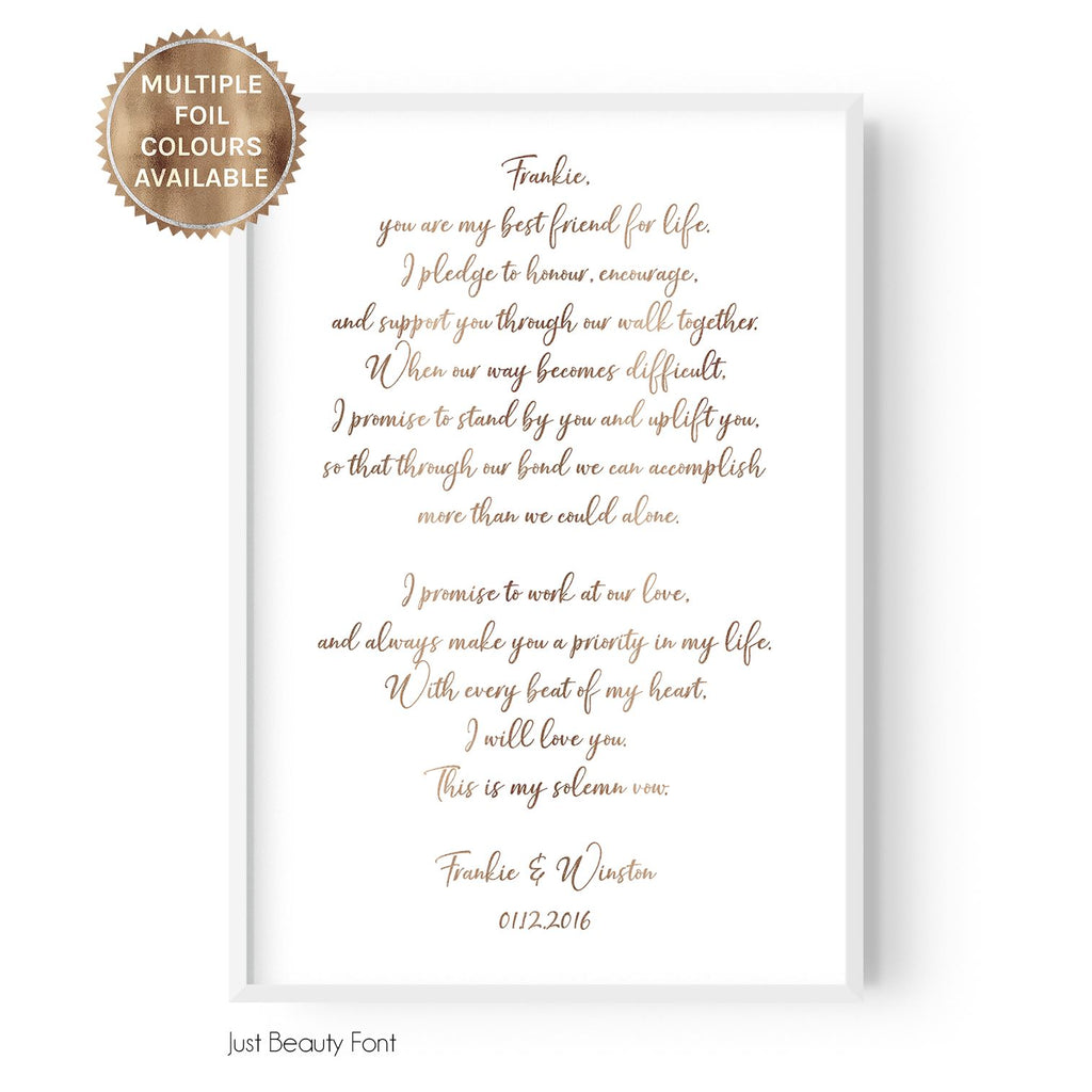 Custom Vows (Portrait) - foiled - Hustle Living