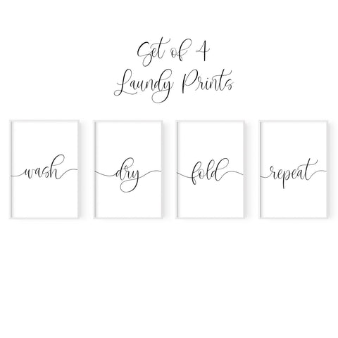 Set of 4 Laundry Prints - Hustle Living