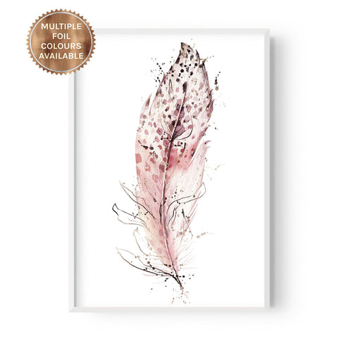 Boho Single Feather #2 - Part Foiled - Hustle Living