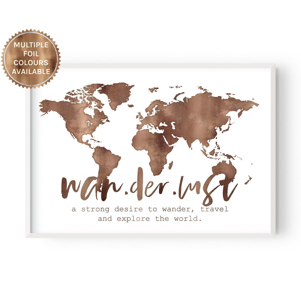 Wanderlust World Map - foiled - Hustle Living