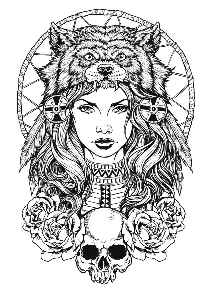 indian and wolf coloring pages - photo#15