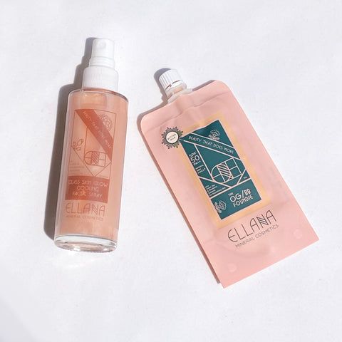 Ellana Mineral Cosmetics - Original Glow BB Foundie with SPF 50 and Glass Skin Glow Cooling Facial Mist with Vitamin C